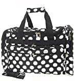 "Large 22"" Retro Black White Large Polka Dots Print Duffle Dance Cheer Gym Bag For Sale"
