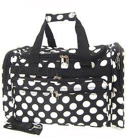 "Large 22"" Retro Black White Large Polka Dots Print Duffle Dance Cheer Gym Bag"