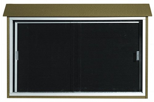 Aarco Products PLDS3045L-8 Weathered Wood Sliding Door Plastic Lumber Message Center with Letter Board- 30Hx45W, Cedar, Green, Light Grey, Rosewood, Weathered Wood