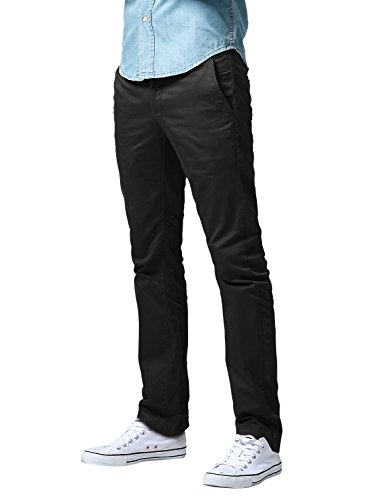 Black Chino Pants - Match Men's Slim Fit Straight Leg Casual Pants (34, 8036 Black)