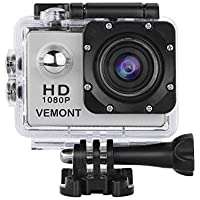 SWIK Action Camera 1080P 12MP Sports Camera Full HD 2.0 Inch Action Cam 30m/98ft Underwater Waterproof Camera with Mounting Accessories Kit (Silver)