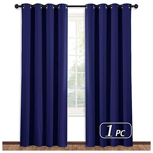 NICETOWN Blackout Dark Blue Curtain Panel - Home Decoration Light Blocking Room Darkening Drape/Drapery for Nursery Room, Ring Top, 52 inches Wide by 95 inches Long, 1 PC