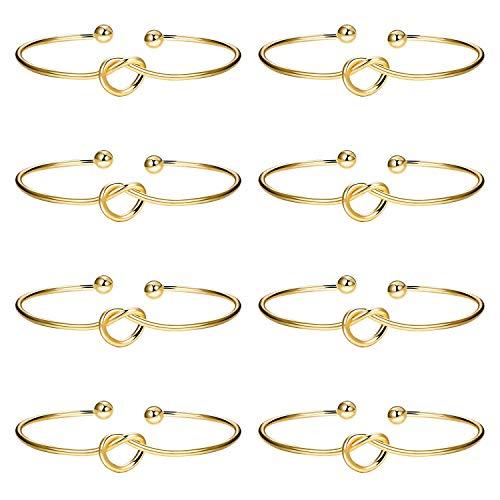 Ghome 8PCS Love Knot Bangle Bracelet,Simple Cuffs Bridesmaid Gifts Bracelets Tie The Knot Cuff Bangle Stretch Bracelet Women Girl (Gold)