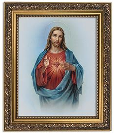 US Gifts Sacred Heart of Jesus Series BestsellersPrint in Ornate Gold Finish Frame Wx H