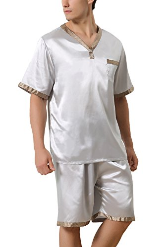 Dolamen Mens Pyjamas Set Satin Bottoms Mens Silky Soft Summer Pyjamas Nightwear (XX-Large, Silver) by Dolamen