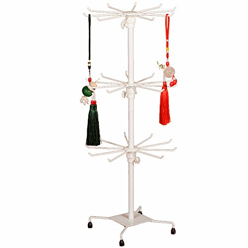 Jewelry Tree, Botitu Revolving 27.5inch Tall Necklace Holder Stand with 30 Hooks and 3 Tiers Earring Jewelry Tower for Retail Jewelry Bracelet Display and Home Use, Suitable for Girl Jewelry Organizer