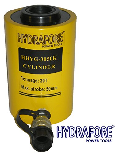 30 tons 2'' stroke Single acting Hollow Ram Hydraulic Cylinder Jack YG-3050K by HYDRAFORE