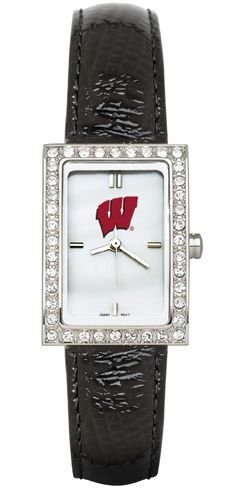 Wisconsin Badger Logo Watch - Wisconsin Badgers NCAA Allure Ladies Watch With Black Leader Strap