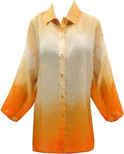Chemise x230 hawa LEELA Orange enne Femmes LA Bouton fZzUqSzw