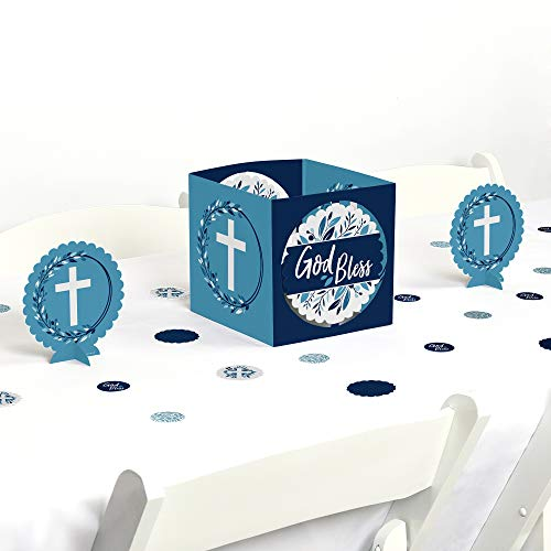 Big Dot of Happiness Blue Elegant Cross - Boy Religious Party Centerpiece and Table Decoration Kit -