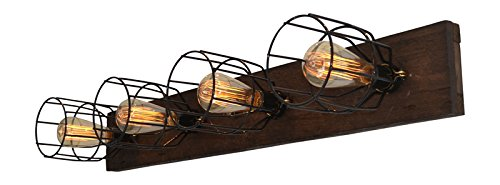 Wood Vanity Light (W/Cages) - Standard Vanity Lighting