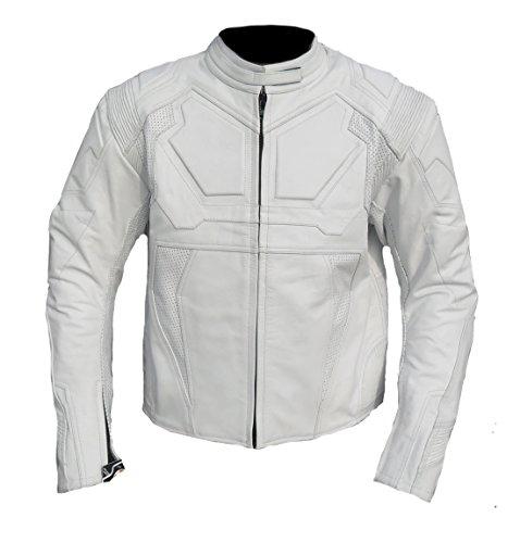 Coolhides Men's Oblivion Motorbike Real Leather Jacket Large Cow White