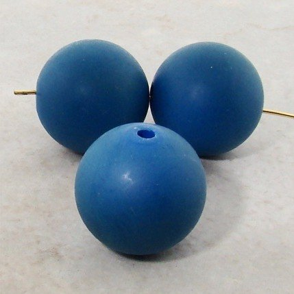 A106 Glasses (BLUE 22MM ROUND SMOOTH BEADS - Lot of 12)