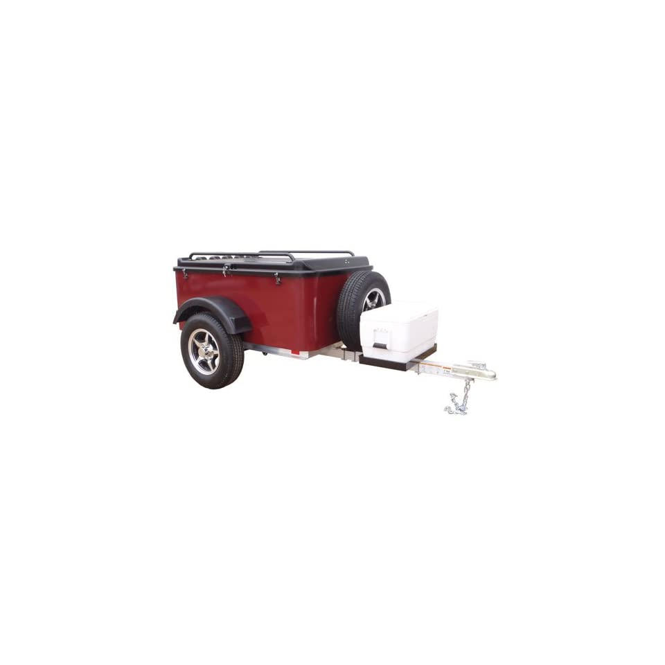 Hybrid Trailer Co. Vacationer with Spare Tire and Cooler Tray   Enclosed Cargo Trailer, 990 lbs. Gross, 30 cu/ft.   Black Cherry