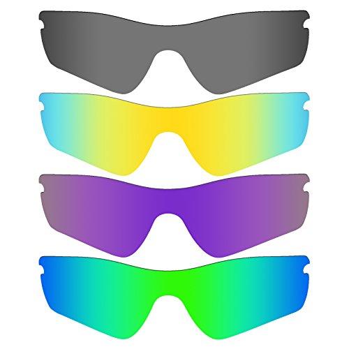 Mryok 4 Pair Polarized Replacement Lenses for Oakley Radar Path Sunglass - Black IR/24K Gold/Plasma Purple/Emerald Green by Mryok