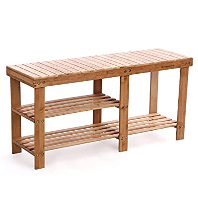 SONGMICS 100% Bamboo Shoe Rack Bench,3-tier Entryway Storage Organizer with Seat, Shoe Shelf for Boots,Ideal for Hallway Bathroom Living Room Corridor Kitchen and Garden Natural ULBS06N - SIT DOWN, PLEASE: Instead of tying your shoes by hopping around on one leg, why not comfortably sit on this entryway bench with shoe storage to dress your feet? 6 LEGS FOR STABILITY: Compared with 4-leg shoe racks, 2 additional legs secure you with additional stability and a load capacity of 264 lb; on top of the 6 legs is a whole, heavy-duty bamboo bench top which makes it even sturdier than those made of slats, so feel free to take a seat while waiting for others to get ready BOOTS HAVE THEIR PLACE: Winter is coming, but is there no right place in your current shoe shelf for boots? With an extra tall storage area in this rack, your boots or backpack get their own perch - entryway-furniture-decor, entryway-laundry-room, benches - 41%2B0NJS9I4L. SS400  -