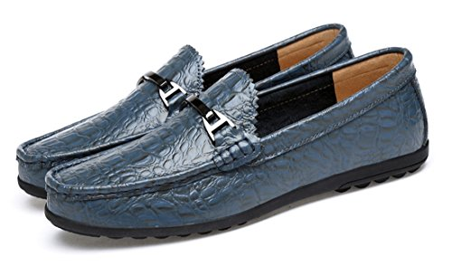 Driving Blue Synthetic Shoes Pattern Buckle Fashion TDA Loafers Crocodile Stitching Men's PTpwqO