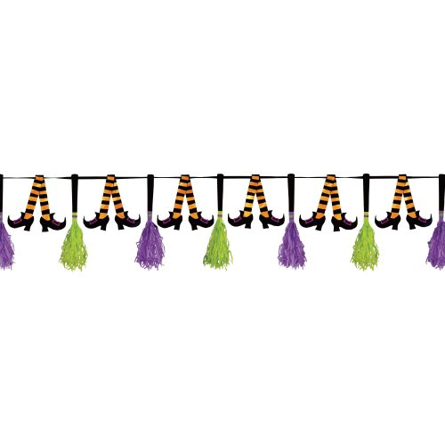 Family Friendly Halloween Party Themes (amscan Family Friendly Halloween Party Witches' Stocking Tassel Garland Hanging Decoration, Paper, 10)