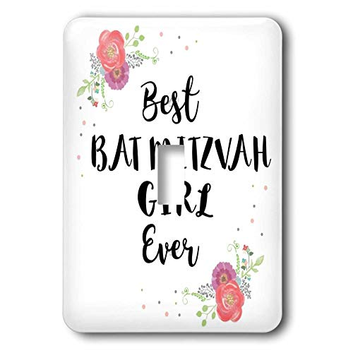 - 3dRose InspirationzStore - Love Series - Floral Best Bat Mitzvah Girl Ever pink flowers cute Batmitzvah Gift - 2 plug outlet cover (lsp_316142_6)