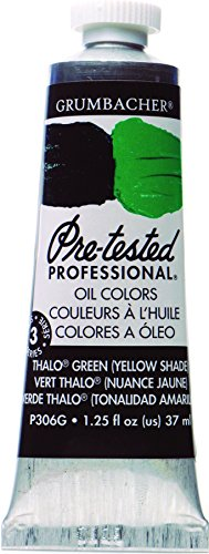 Grumbacher Pre-Tested Oil Paint, 37ml/1.25 Ounce, Thalo Green (Yellow Shade) (P306G)