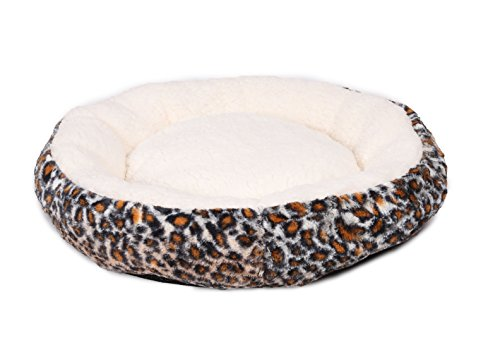 Cheap HappyCare Textiles Round Cute and Comforter Pet Bed Printed Fur and Ultra Soft Sherpa, 19″ by 19″