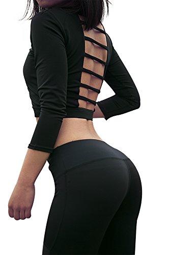 Helisopus Women's Three Quarter Sleeve Running/Yoga Pierced Sexy Soft Workout Shirt Tops (M, - Sexy Hut