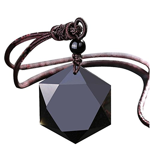 COOLSOME Obsidian Hexagram/Star of David Exquisite Pendant Necklace (Obsidian)