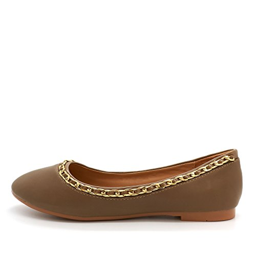 London Footwear Donata, Women's Ballet Flats Khaki