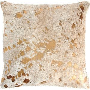 Amazon Com Ecowhides Cowhide Pillow Case 15 X 15 Gold Metallic Genuine Leather Cowskin Throw Pillow Cover Gold Metallic One Sided Case Only Furniture Decor
