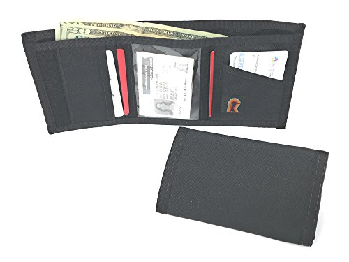 RFID Trifold Basic Nylon Hook & Loop Wallet. USA Made by Rainbow of California (Black) ()