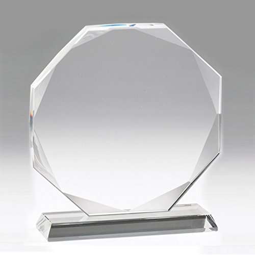 - Customizable 6-1/4 Inch Octagon Shape Optical Crystal Award with Personalization