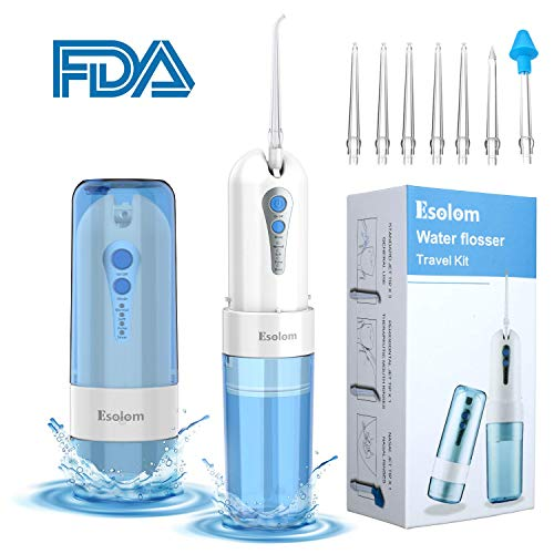 Water Flosser Cordless, ESOLOM Dental Oral Irrigator for Teeth Cleaning with 7 Jet Tips 4 Modes, Portable Rechargeable Dental Water Flosser for Braces and Teeth Whitening, Travel and Home Use Blue