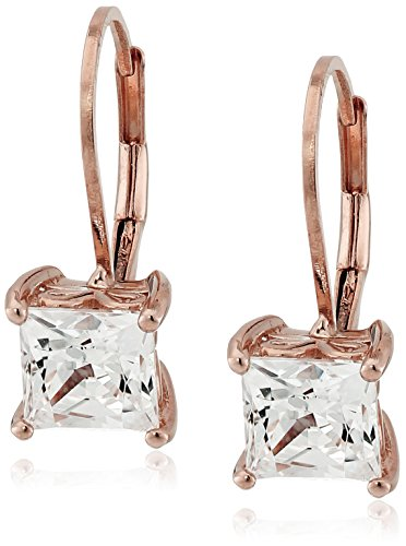 Rose Gold Plated Sterling Silver Lever back Earrings set with Princess Cut Swarovski Zirconia (2.48 cttw)