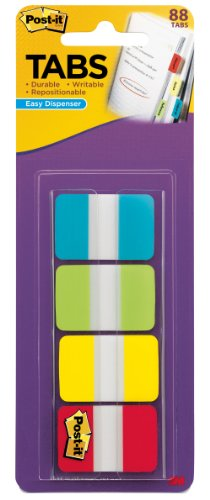 Post-it Tabs, 1-Inch Solid, Aqua, Lime, Yellow, Red, 22/Color, 88 per Dispenser (1 Sticky Flag)