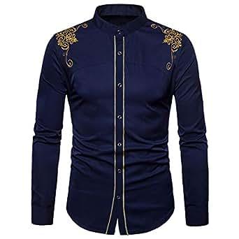 Yvelands Camisa de Bordado de los Hombres, Hombres cómodos Hermosos Solapa Ocasional Hipster Blusa Slim Fit Camiseta Camisas de Vestir de Manga Larga, Liquidación