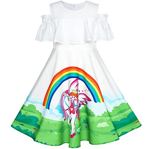 Best Sunny Fashion Dresses For Girls - Girls Dress Unicorn Rainbow Cold Shoulder
