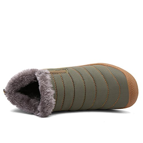 Anti Women Boots Fully Shoes Khaki Winter Booties Waterproof Mens Lined Outdoor Slip Snow Fur Ankle Warm YCqYrt