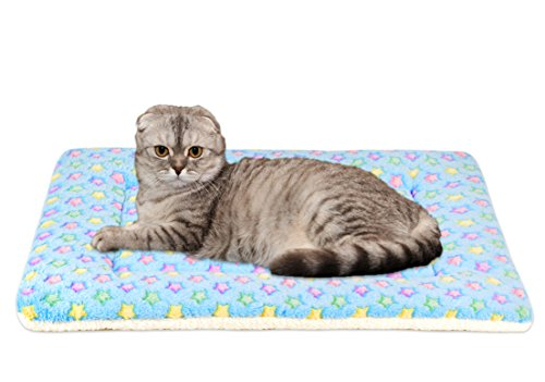 Ultra Soft Pet Crate Mat / Bed Liner, for Cats and Small Dogs (X-small, Blue) by Mora Pets