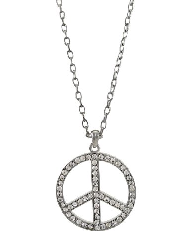 Things2die4 Metal Womens Pendant Necklaces Chrome And Rhinestone Peace Sign Necklace Silver