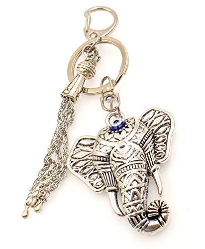 Elephants Evil (Elephant Evil Eye Good Luck Protection Keychain Metal Tassel Accessory Men Women)