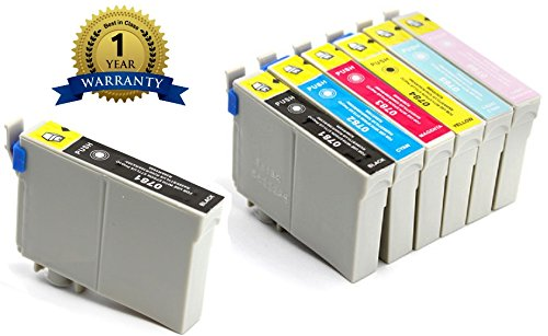7 Pack Elite Supplies ® Remanufactured Inkjet Cartridge Replacement for #78 T078 T0781, Epson Stylus Photo, Epson Artisan replacement ink, Epson T078120 T078220 T078320 T078420 T078520 T078620 Works with Epson Artisan 50, Stylus Photo R260, Stylus Photo