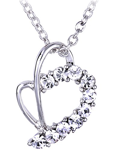 - Alilang Swarovski Crystal Elements Clear Colored Abstract Heart Shaped Pendant Necklace