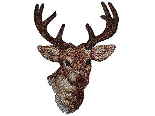 Hirsch 5,4 cm * 7,2 cm Bügelbild Reh Waldtiere Rehe Jagd Trachten Aufnäher Applikation Patch Aufbügler