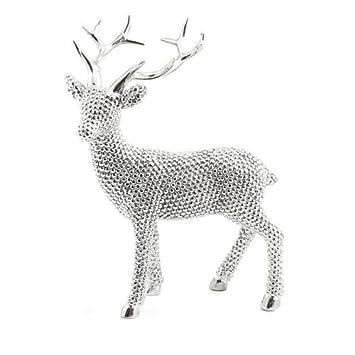 23cm Diamante Silver Bling Effect Reindeer  Stag Figurine