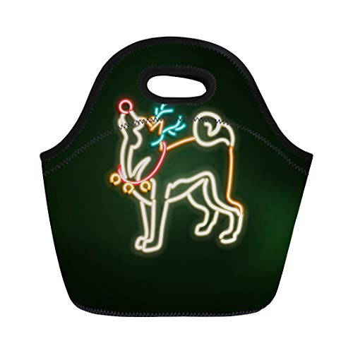 - Semtomn Lunch Bags Green Lamp Christmas Dog Neon Sign Bright Signboard Light Neoprene Lunch Bag Lunchbox Tote Bag Portable Picnic Bag Cooler Bag