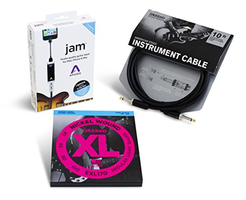 Apogee JAM Electric Bass Accessory Bundle with D'Addario EXL170 Strings and American Stage Cable