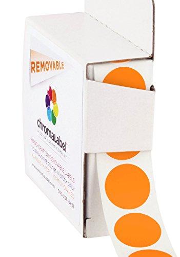 ChromaLabel 3/4 inch Removable Color-Code Dot Labels | 1,000/Dispenser Box (Orange)