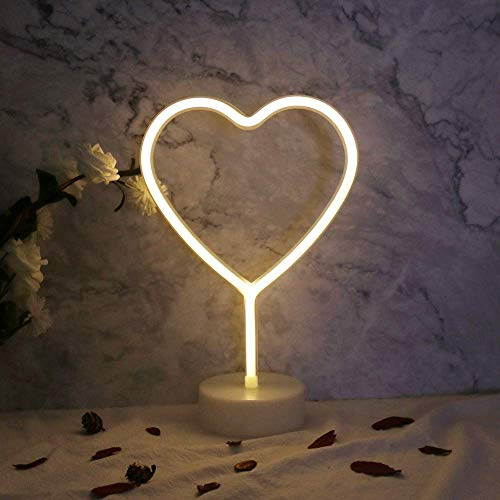 ENUOLI Neon Night Light Heart Shaped with Warm White Lamp USB & Battery Powered Hanging Wedding Sign Novelty Indoor Lamps Decor Birthday Party Christmas Party Kids Room Living Room Bedroom or Bar
