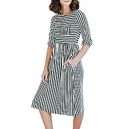 42a224ea714 MEROKEETY Women s 3 4 Balloon Sleeve Striped High Waist T Shirt Midi Dress  with Pockets