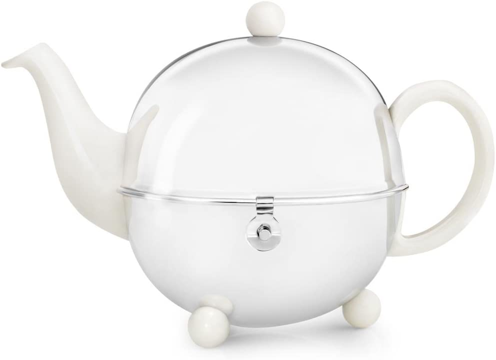 Bredemeijer Cosy Ceramic and Stainless Steel Teapot, 5.5 Cup, Spring White